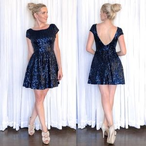 Sequin Beaded Fit Flare Homecoming Pageant Dress